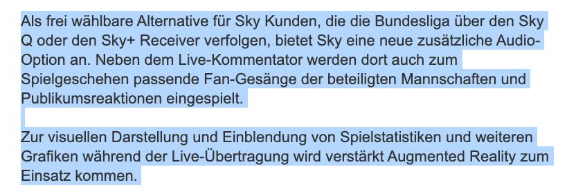 Screenshot der Pressemitteilung von Sky zu den Tonoptionen bei Geisterspielen, Quelle: Sky