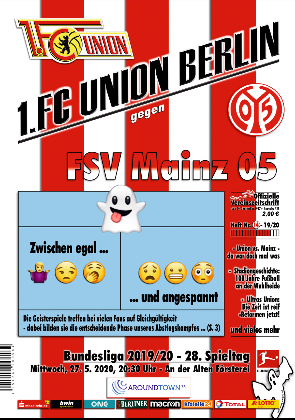 Stadionheft zum Geisterspiel gegen Mainz 05, Screenshot via FCU Kiosk