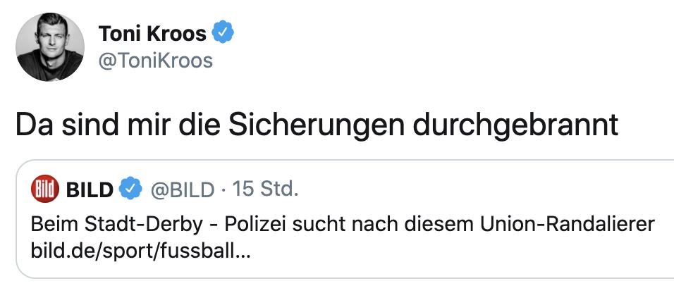 Der Bruder von Felix Kroos twitterte; Screenshot: @tonikroos