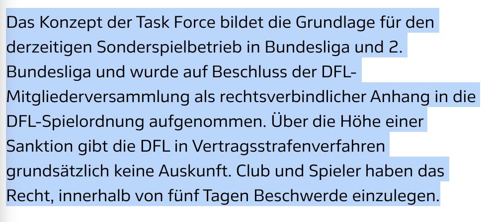 Mitteilung der DFL über die Geldstrafe wegen der Klassenerhalts-Party, Screenshot: DFL