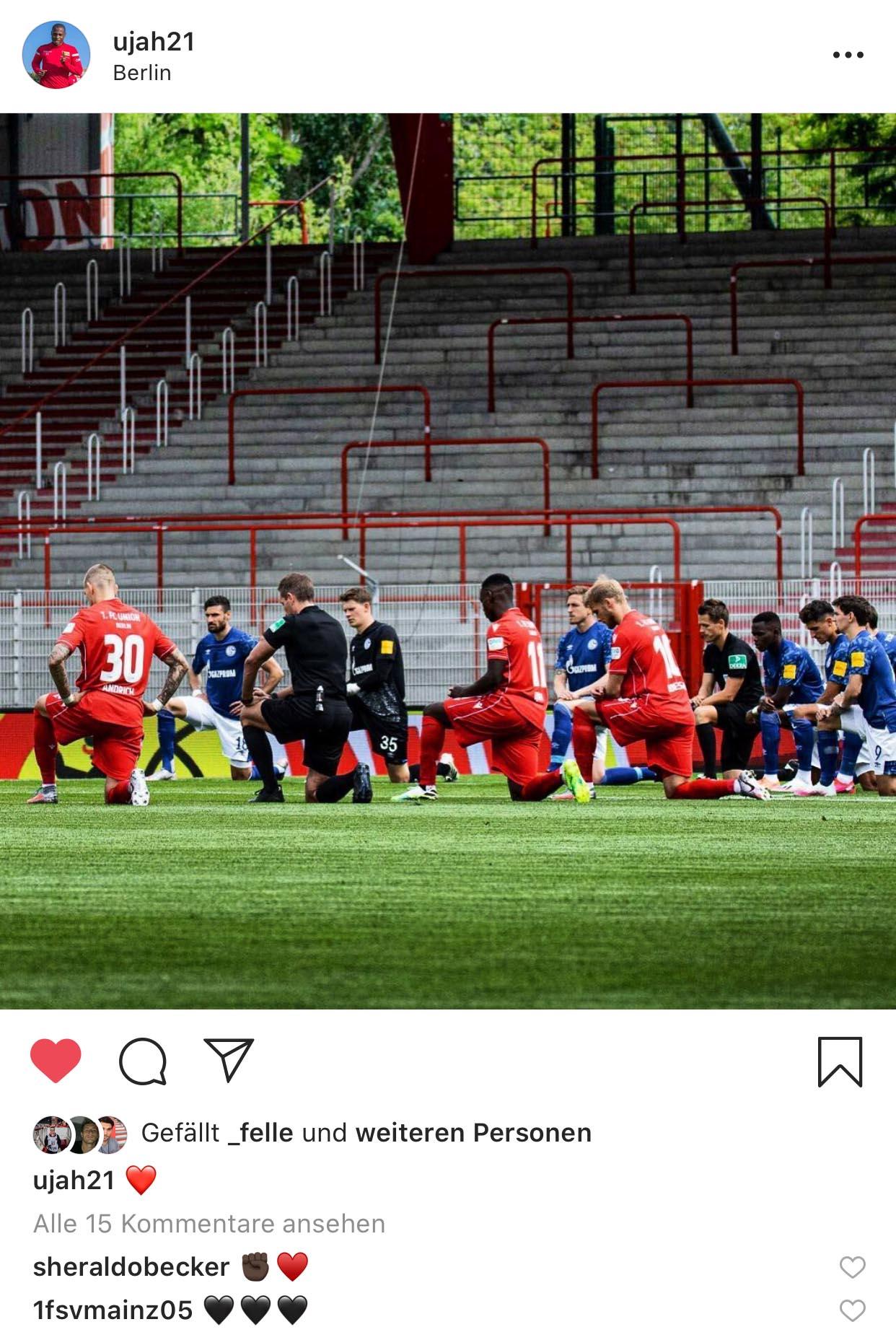 """Anthony Ujah postete auf Instagram, wie Mannschaften und Spieler vor Anpfiff am Mittelkreis knieten, Instagram: <a href=""""https://www.instagram.com/p/CBLum35D8Yo/"""" target=""""_blank"""" rel=""""noopener"""">@ujah21</a>"""