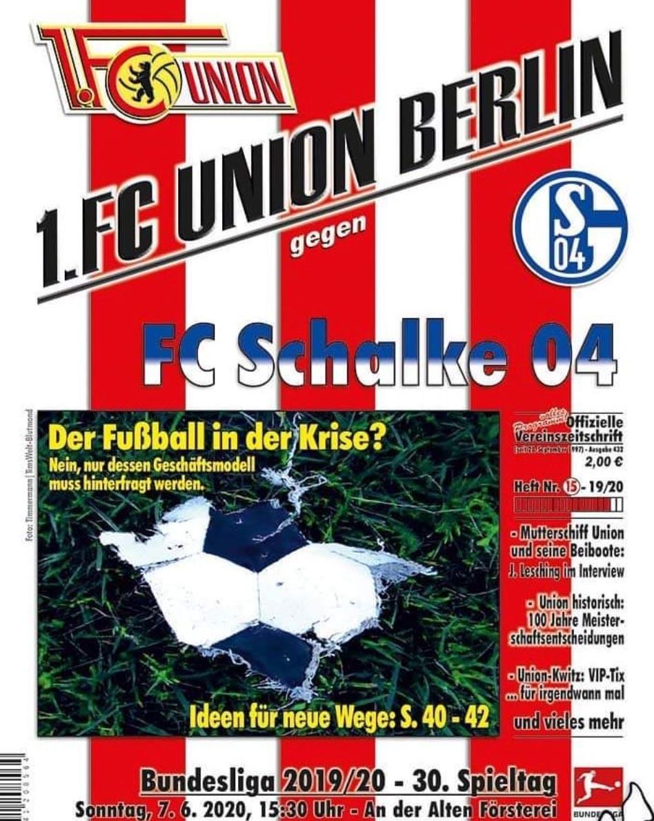 Stadionheft zum Geisterspiel des 1. FC Union gegen den FC Schalke 04