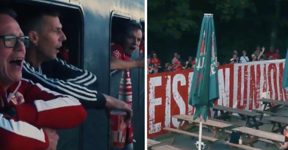 Unionfans im Sonderzug und Unionfans außerhalb des Stadions während der Geisterspiele