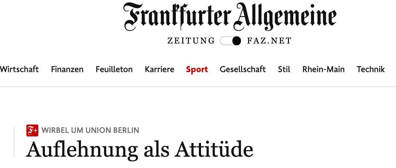 Überschrift der Frankfurter Allgemeinen Zeitung: Auflehnung als Attitüde