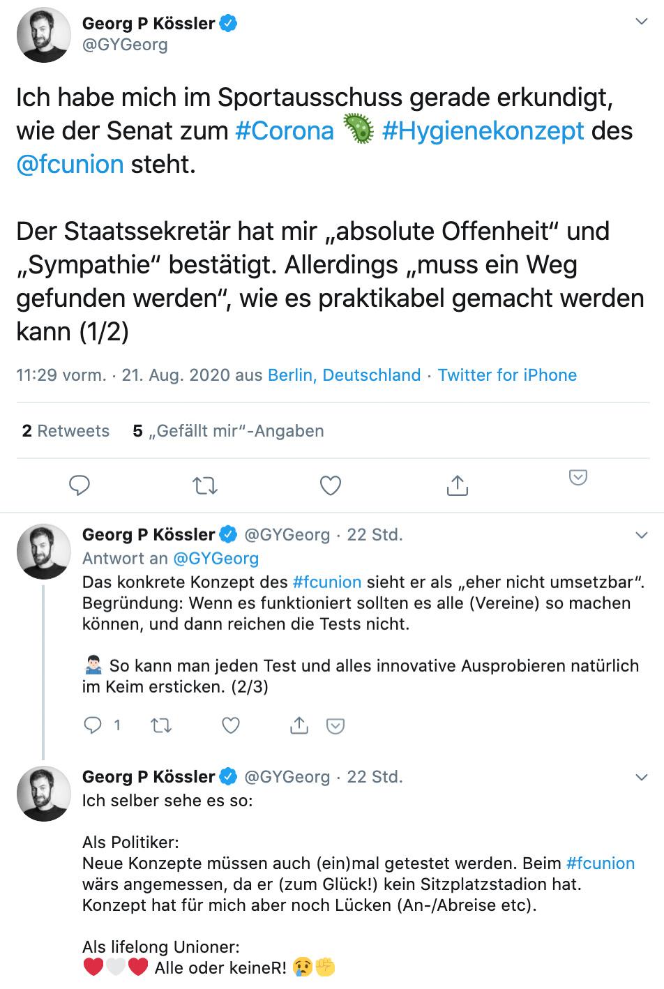Thread von Georg Kössler (Abgeordneter im Berliner Parlament für Bündnis 90/Die Grünen) zum Testkonzept von Union, Quelle: Twitter