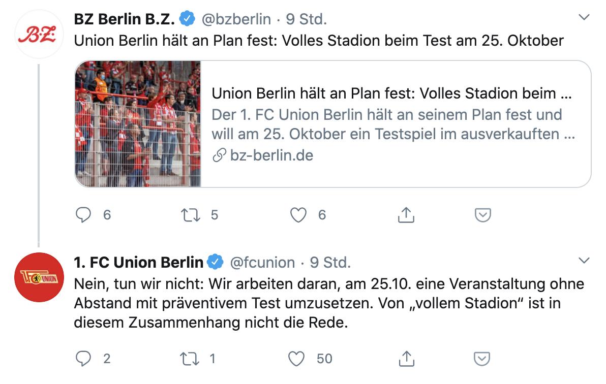 Union antwortet auf die Agentur-Nachricht bei der BZ, Screenshot: BZ