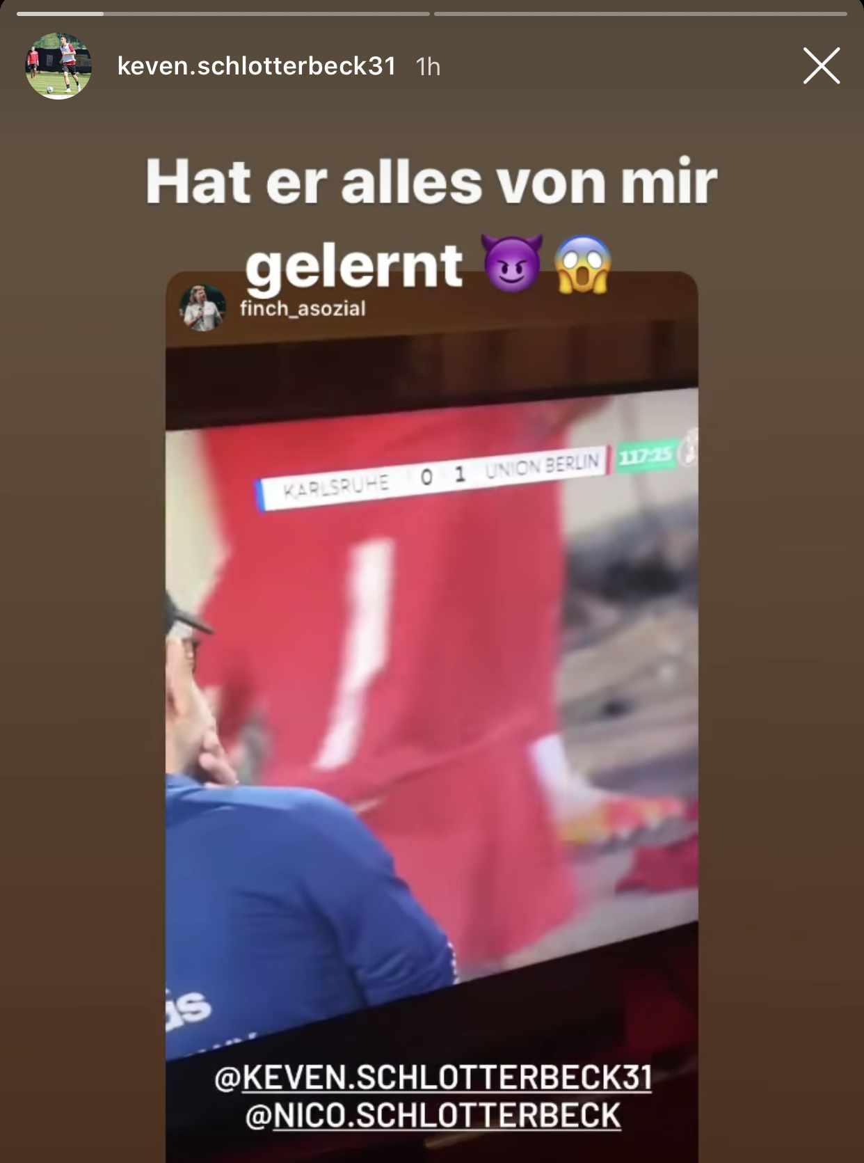 Keven Schlotterbecks Kommentar zum Tor seines Bruders Nico im Pokal, Foto: Instagram