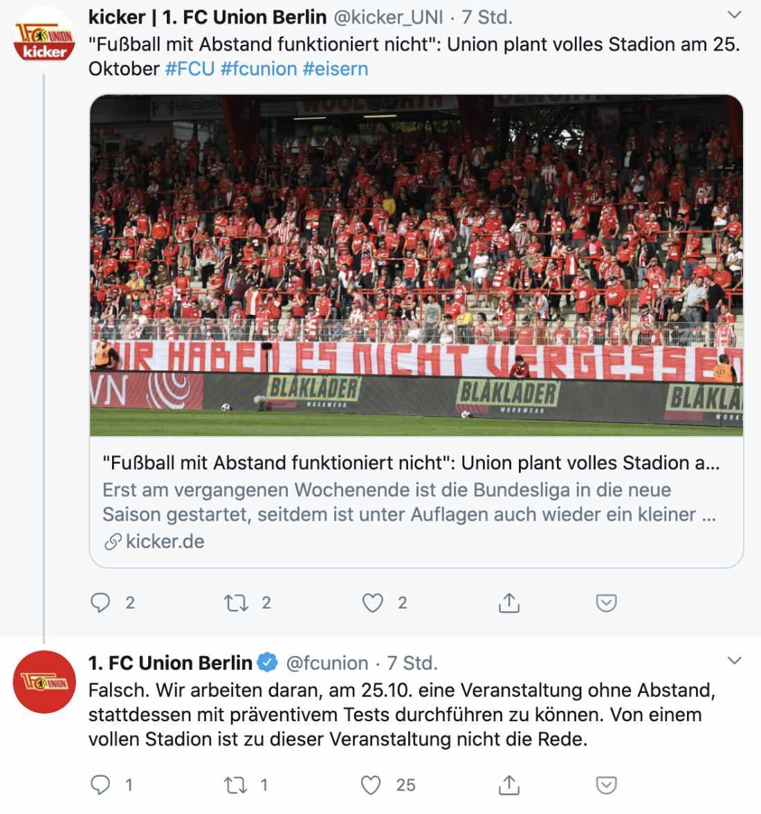 Auch beim Kicker antwortete Union, Screenshot: Twitter