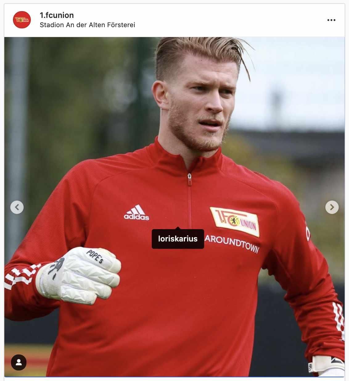 Loris Karius beim Training, Foto: 1. FC Union Berlin Instagram