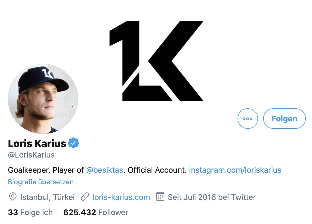 Laut Twitter-Profil ist Loris Karius noch in Istanbul, Screenshot: Twitter