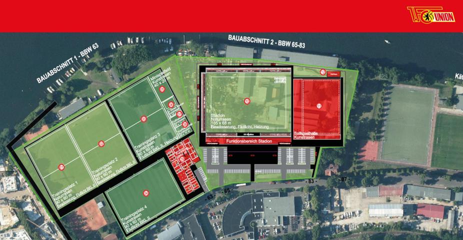 Bauabschnitt 1 und 2 des Nachwuchsleistungszentrums des 1. FC Union Berlin in der Planung von 2017, Screenshot: AFTV