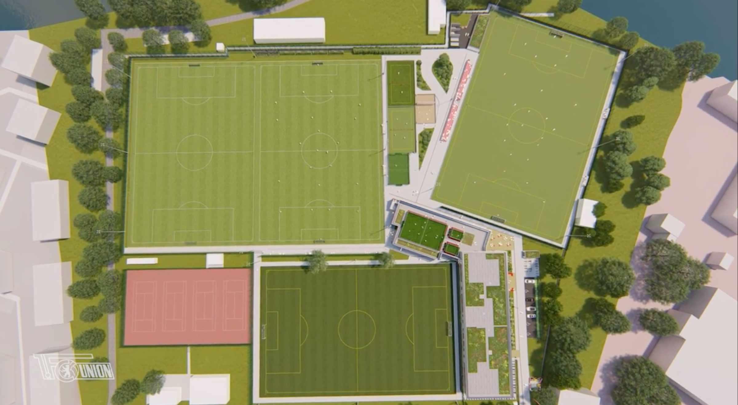 Bauabschnitt A des Nachwuchsleistungszentrums des 1. FC Union Berlin, Screenshot: AFTV
