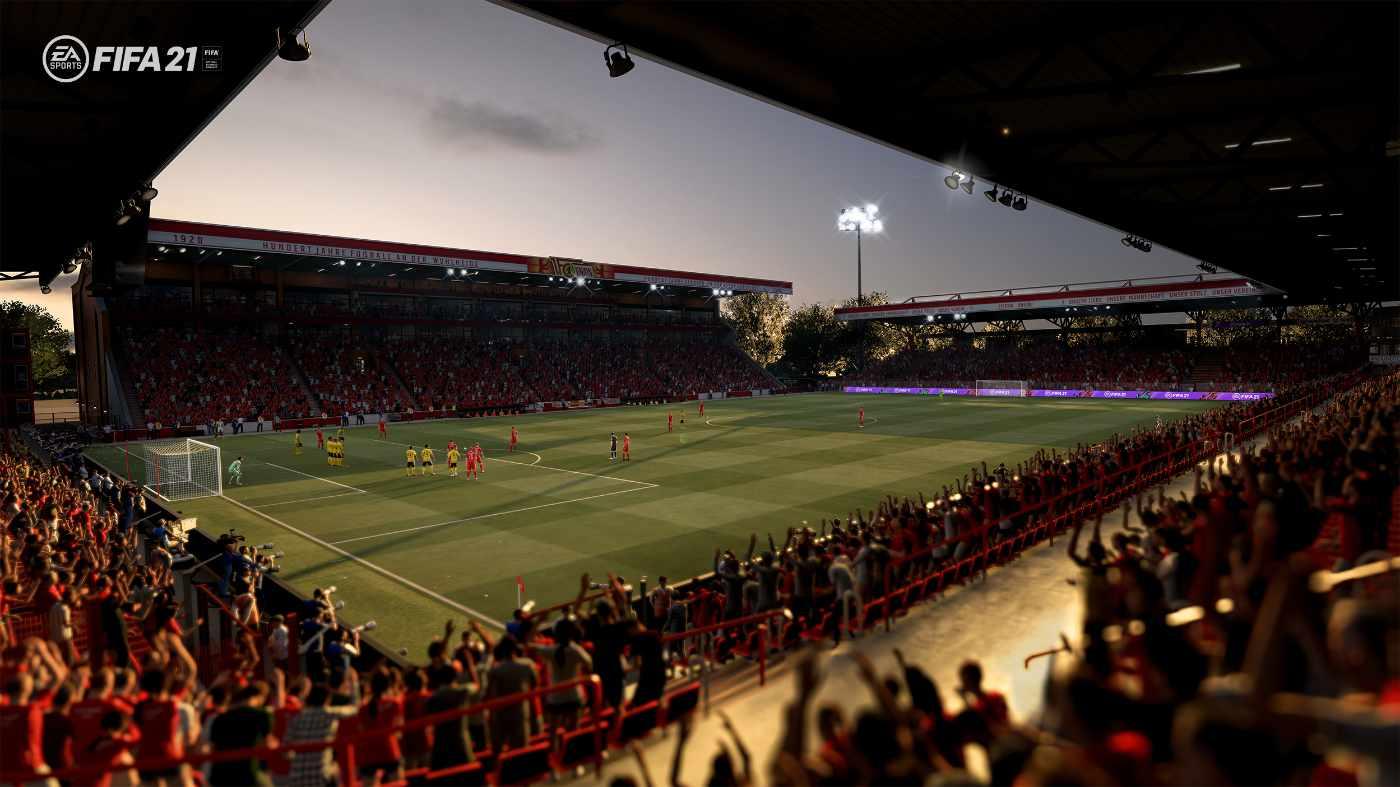 Ganz klar erkennen wir das Stadion an der Alten Försterei bei Fifa21, allerdings mit Sitzplätzen, Bild: EA Sports