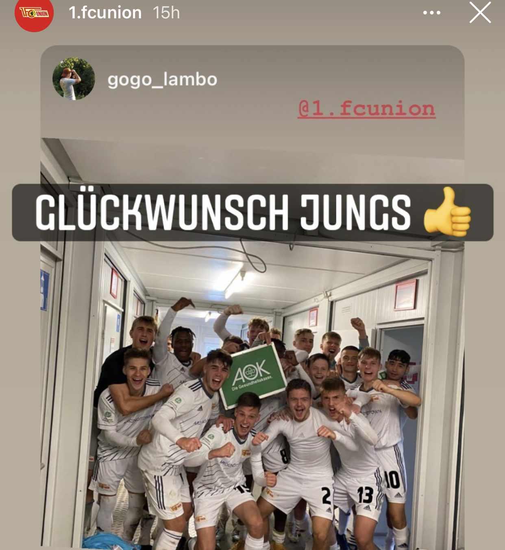 Jubel nach Last-Minute-Sieg: Die A-Junioren des 1. FC Union Berlin, Foto: Instagram 1. FC Union