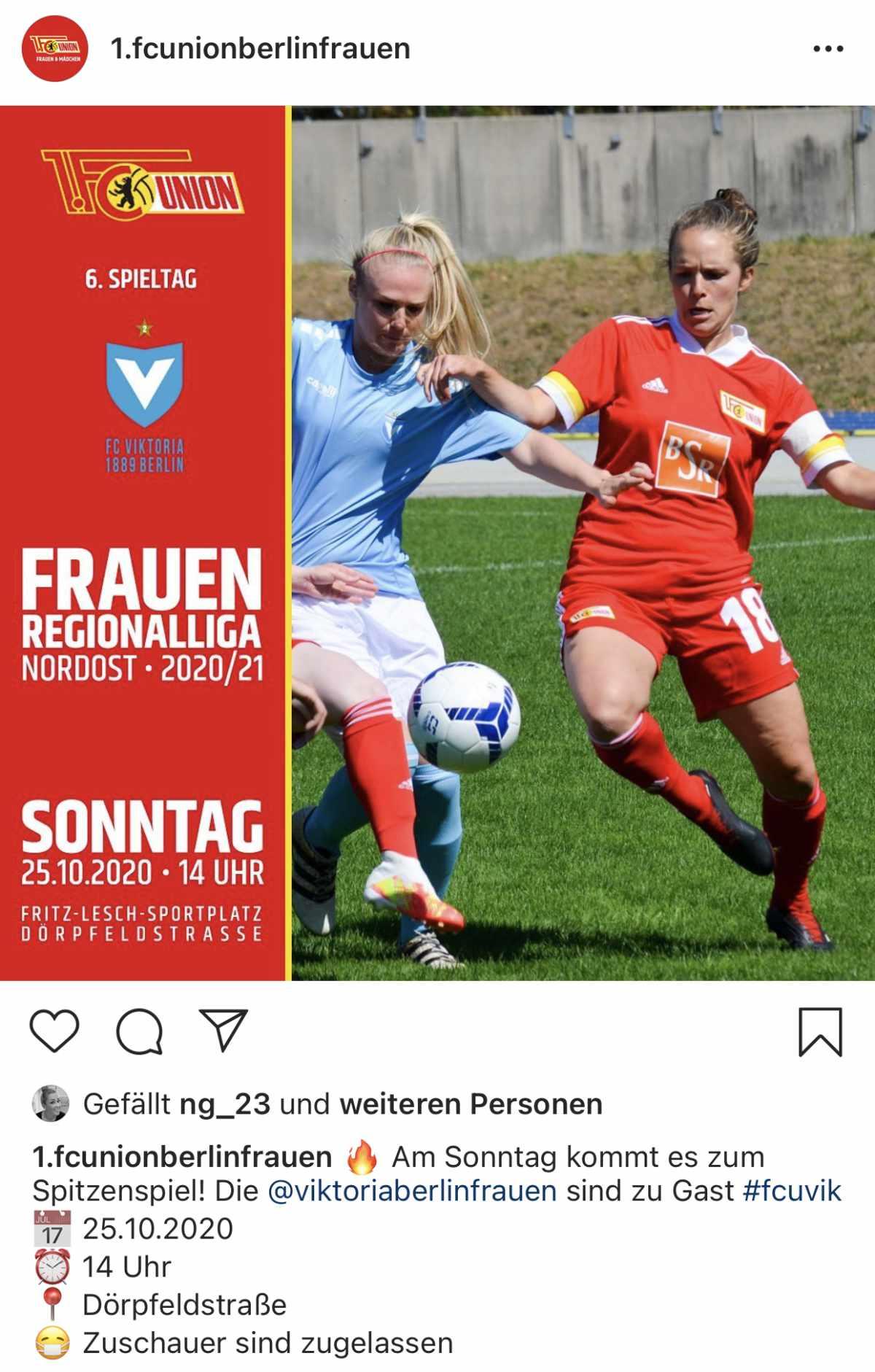 Spielankündigung für das Spitzenspiel gegen Viktoria, Instagram: 1. FC Union Berlin Frauen