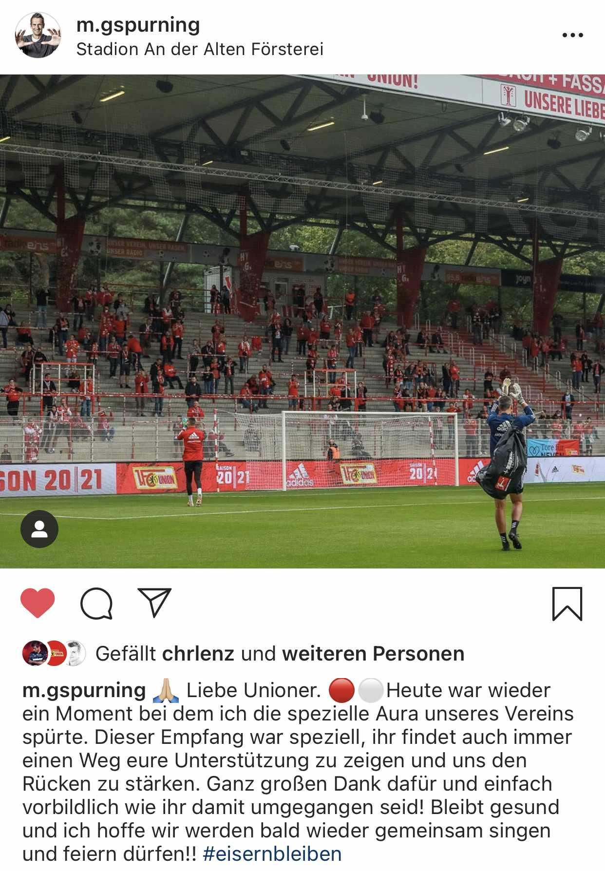 Michael Gspurning bedankt sich auf Instagram für den speziellen Support. Screenshot: Instagram @m.gspurning