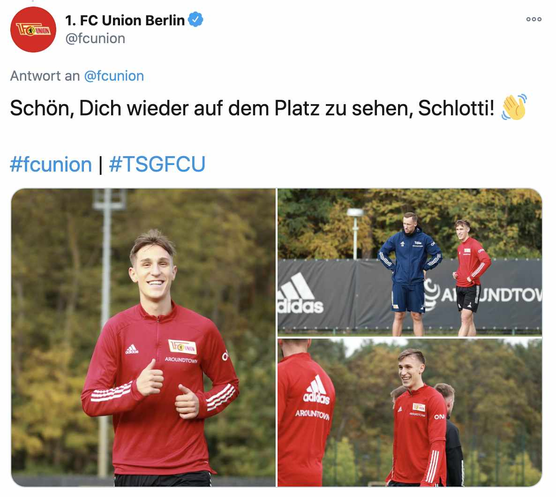 Nico Schlotterbeck trainierte diese Woche wieder mit, Foto: 1. FC Union/Twitter