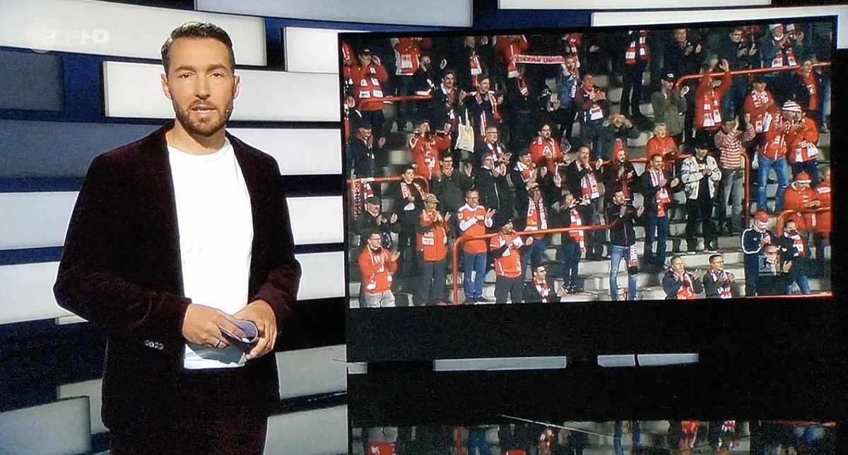 Das ZDF Sportstudio warf Union vor, dass keine Masken am Platz getragen wurden, obwohl das nicht vom Hygienekonzept verlangt wird. Screenshot: ZDF
