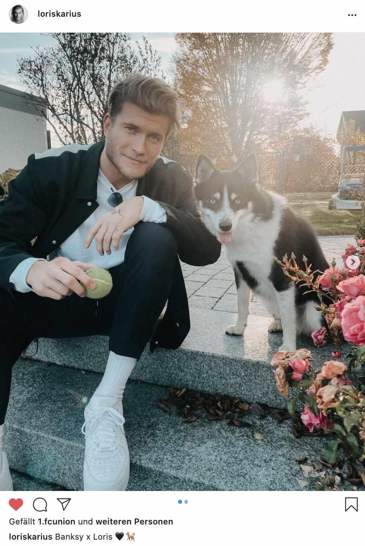 Loris Karius mit Hund Banksy, Foto: via Instagram