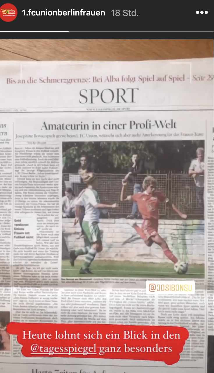 Der Instagram-Account der Frauenfußball-Abteilung von Union macht auf den Tagesspiegel-Artikel vom Samstag aufmerksam.