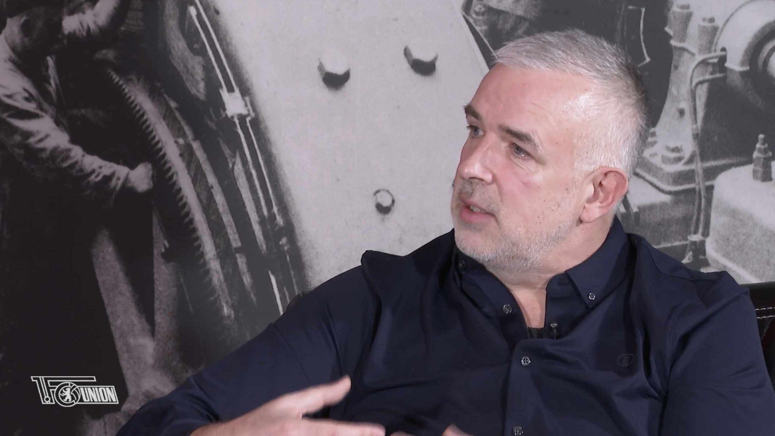 Union-Präsident Dirk Zingler im Interview mit dem vereinseigenen Kanal AFTV, Screenshot: AFTV