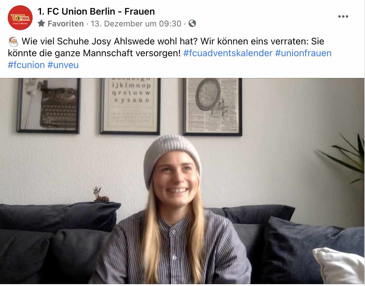 Josy Ahlswede denkt an ihre Schuhsammlung, Foto: 1. FC Union Berlin Frauen