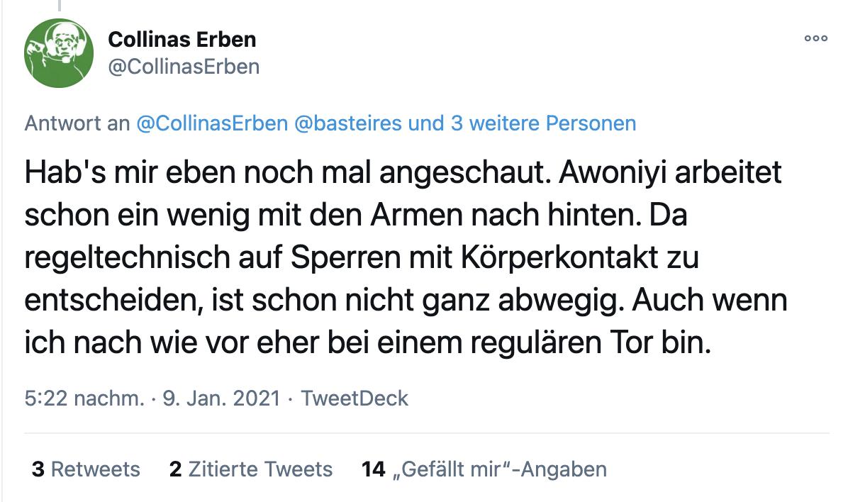 Schiedsrichter-Podcast Collinas Erben zur Szene beim 3:1, Screenshot via Twitter