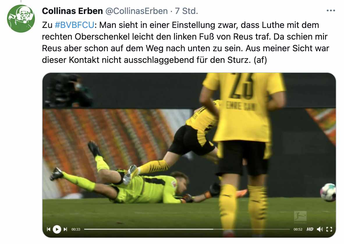 Alex Feuerherdt vom Schiedsrichter-Podcast Collinas Erben sieht auch keinen Grund, Elfmeter gegen Union zu pfeifen, via Twitter @collinaserben