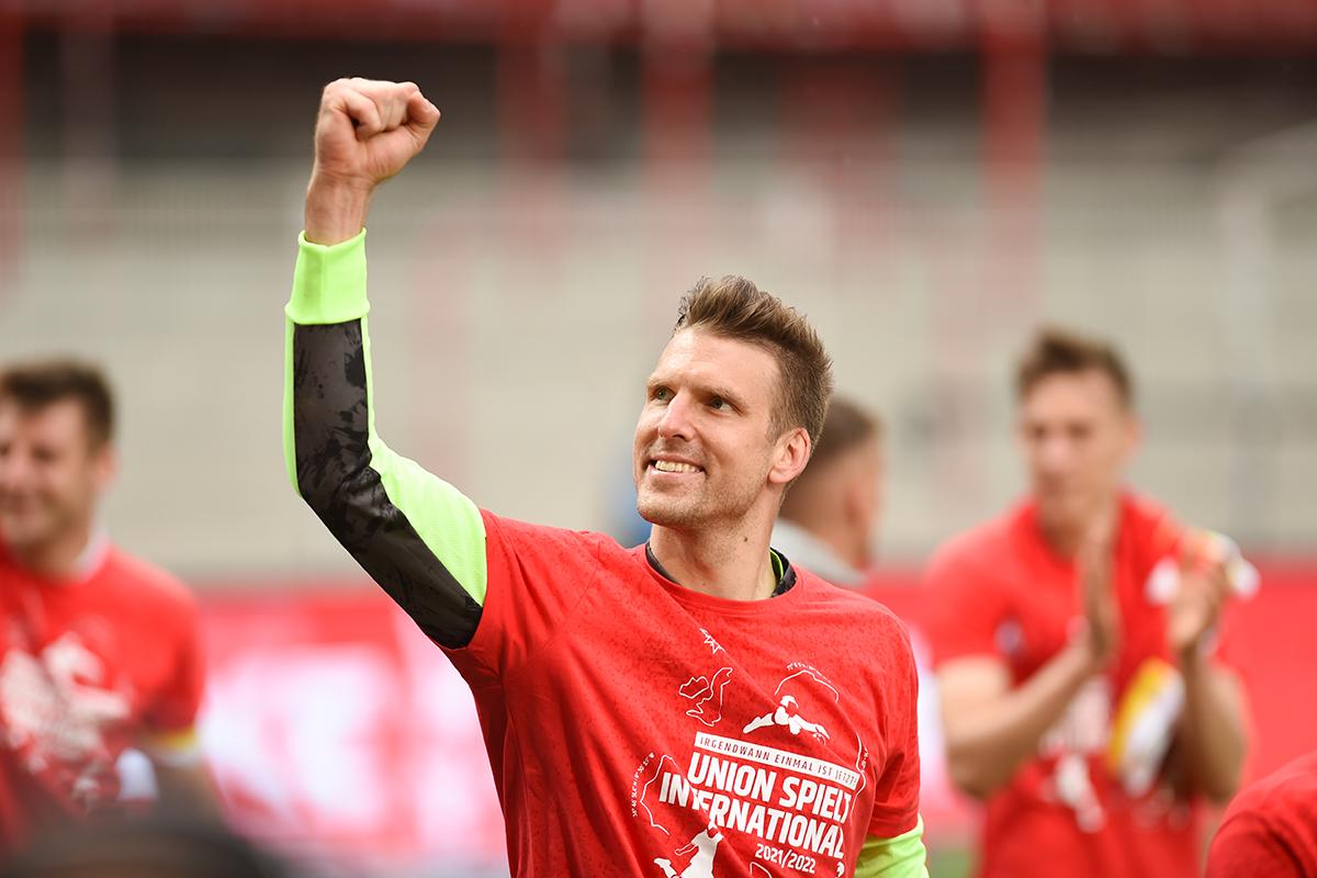Andreas Luthe nach dem letzten Spieltag, der die Qualifikation für die Europa Conference League bedeutete. Foto: Stefanie Fiebrig