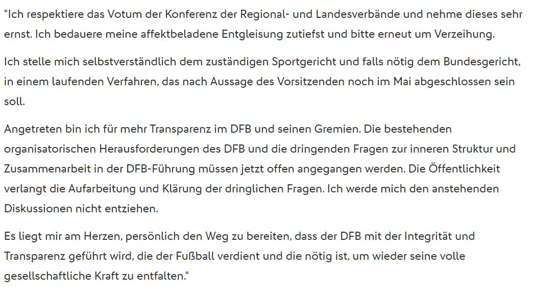 Die gelöschte Mitteilung des DFB, Screenshot via dfb.de