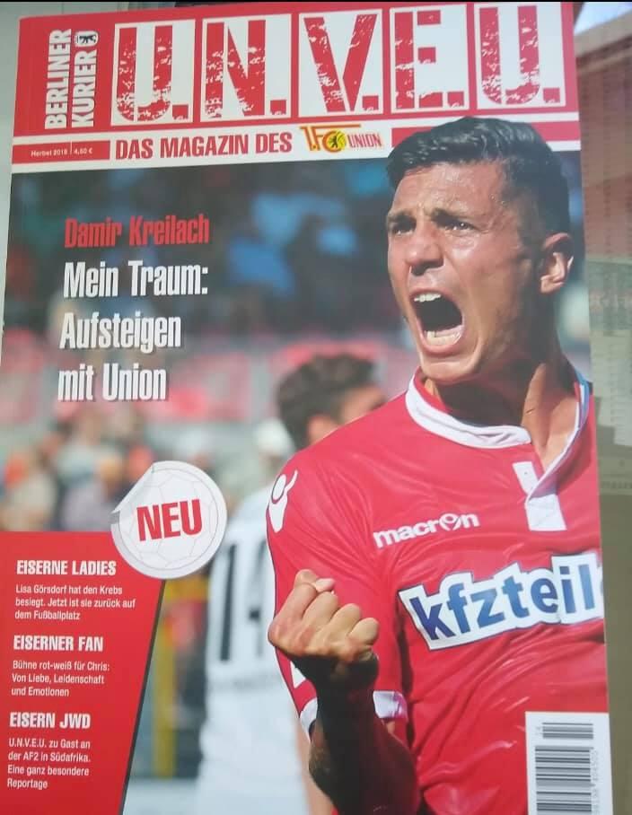 Statt Norbert Düwel stand ein Interview mit Damir Kreilach im ersten UNVEU-Magazin, Foto: Berliner Verlag/UNVEU-Magazin