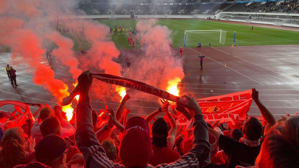 Union-Fans in Helsinki beim Europa-Pokal-Spiel gegen Kuopio
