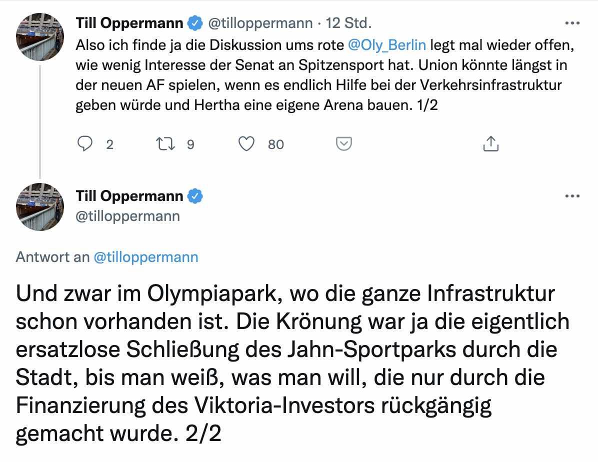Das Stadion-Dilemma für Fußballvereine in Berlin in zwei Tweets, via @tilloppermann