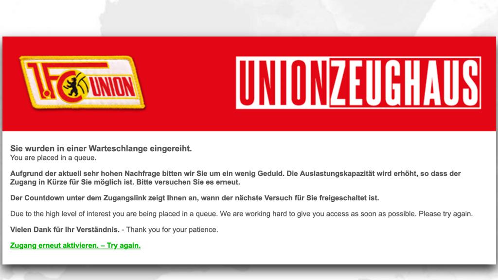 Union Zeughaus online shop Warteschlange