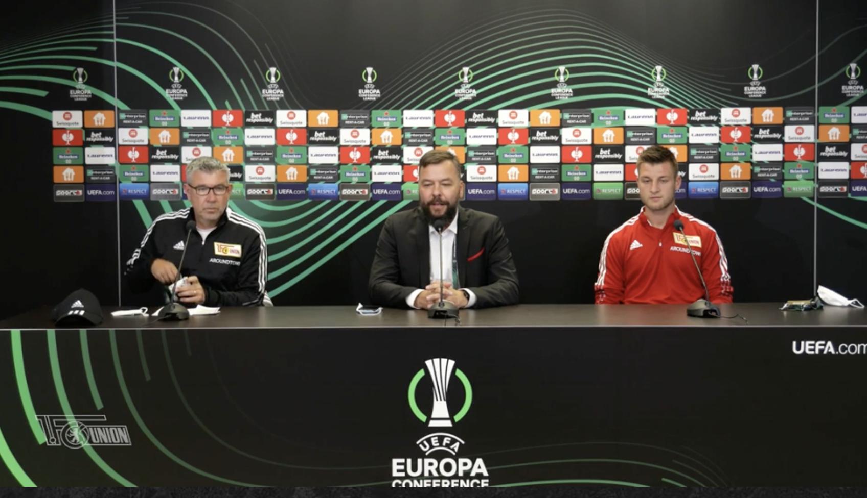 Pressekonferenz vor dem Spiel in Prag mit Trainer Urs Fischer (links) und Robin Knoche (rechts), Screenshot: AFTV