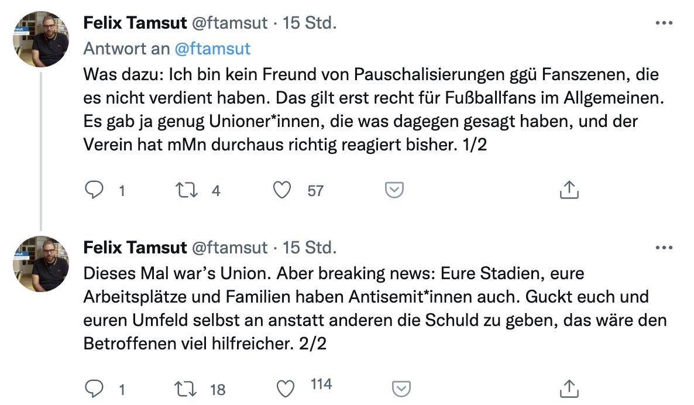 Der Sportjournalist Felix Tamsut sieht Pauschalisierungen als nicht hilfreich an, Twitter: @ftamsut
