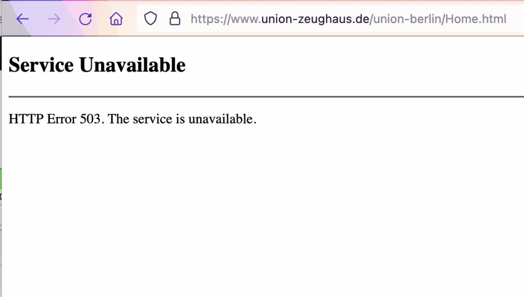 Zeughaus Union Berlin online shop Fehlermeldung